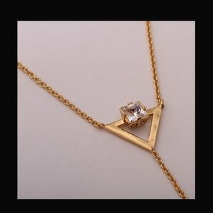 Nicole Miller Gold Plated Prism Angle Y Necklace
